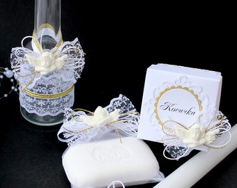Baptism Set Christening Set Greek Orthodox Baptismal Set Greek Baptismal Oil Bottle and Soap Baptism Candle