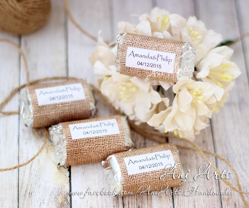 Burlap Wedding Favors Mini Hershey Wrapper Custom Diy Country Etsy