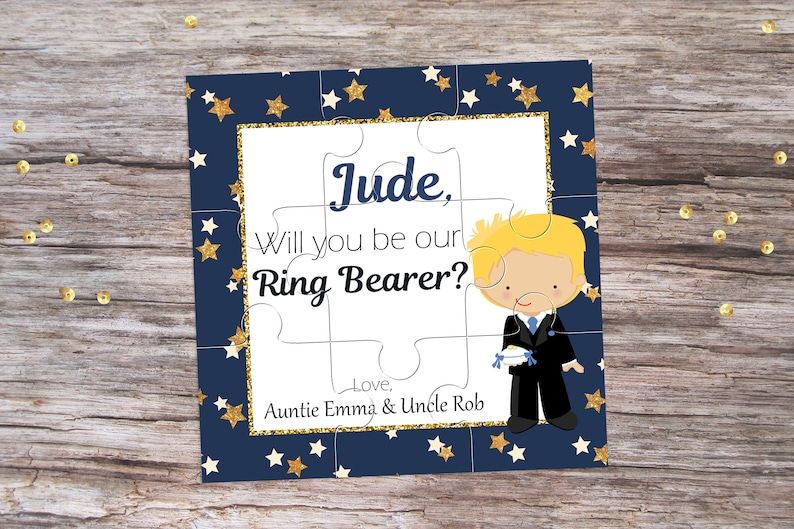 Ring Bearer Photo Puzzle Ask Ring Bearer Photo Puzzle Frame for Ring Bearer Will You Be Our Ring Bearer Photo Proposal