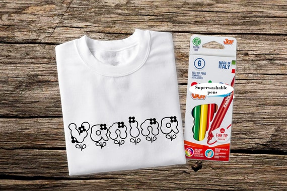 Personalized Coloring T Shirt for Kids with Washable Pens Kid Coloring  Shirt Color Me T-shirt Coloring T Shirts Christmas Shirt for Kid