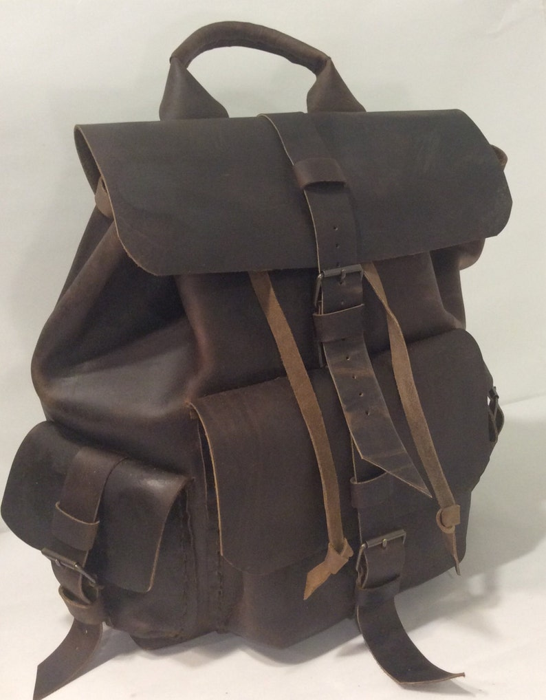 2199c6f4ac Mens Solid Leather Backpack-Large Rustic Brown Backpack-Top