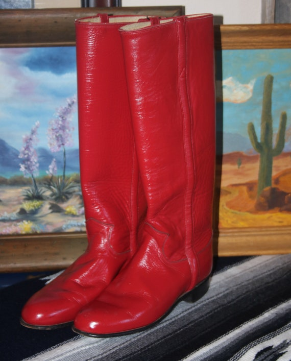 Red Justin Cowboy Boots Size 5 B Cowgirl Boots Wes
