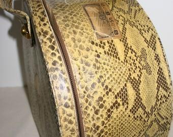 Faux Snakeskin Vintage Train Case Gorgeous Rare Case Plaid Interior Antique Luggage