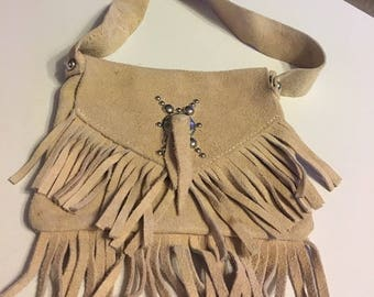 Leather Fringe purse pouch hippie bag with strap