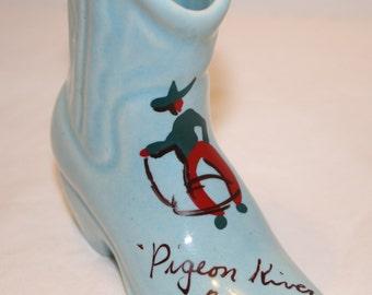Cowboy Boot Souvenir Pigeon River, Canada Little Boot Ceramic Western
