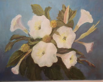 Vintage Floral Painting Fredrix Canvas Painting Wall Decor Blue with White Flower Arrangement