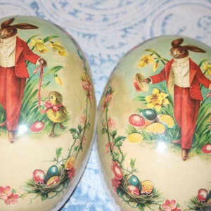 German Easter Egg Paper Mache w Easter Bunny Nestler Germany Since 1894 Easter Collectible