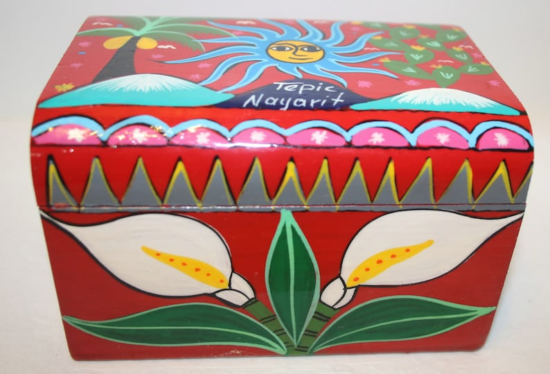 Vintage Red Painted Wood Box Sun Fish Flower Hand Painted Tepic Nayarit Mexican Box