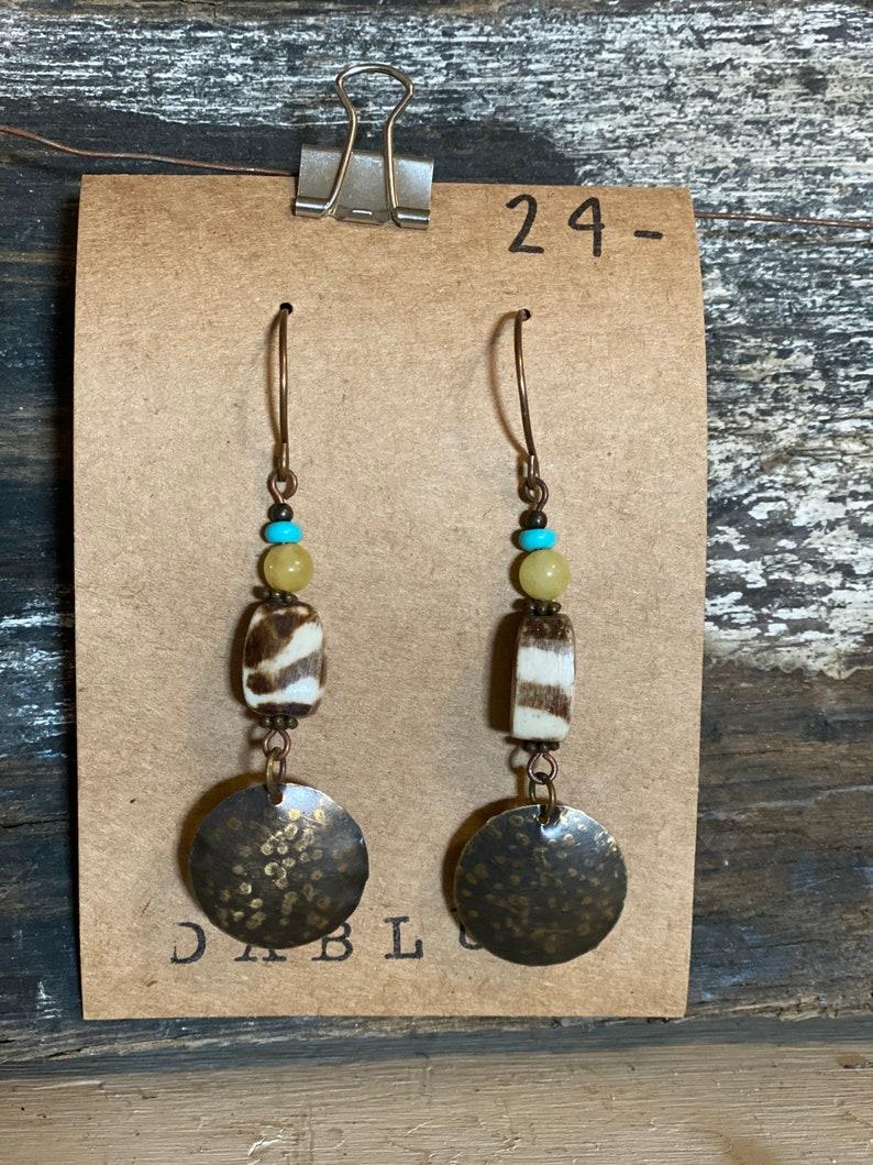 Handmade Embossed Metal Beaded Earrings