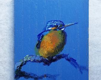 Kingfisher Bird acrylic painting original on wooden board small size