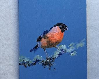 Bulfinch Bird acrylic painting original on wooden board small size