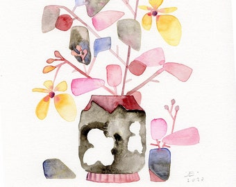 Abstract Flowers WATERCOLOR original abstract florals painting
