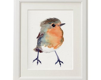 Baby Robin, baby shower gift, Bird Painting Red Robin, GICLEE print, nursery art gift