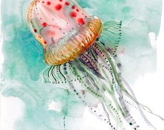 Jellyfish print, Deep Sea creatures, Underwater world watercolor painting, diving-lover gift idea