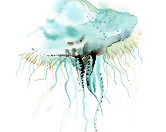 Jellyfish print, diving-lover gift idea, Deep Sea creatures, Underwater world watercolor painting,