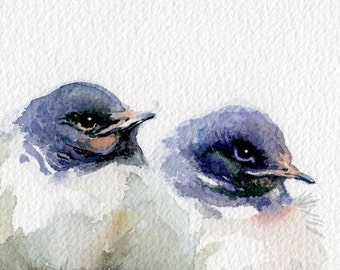 Swallows painting, baby birds giclee print, little swallows watercolor print
