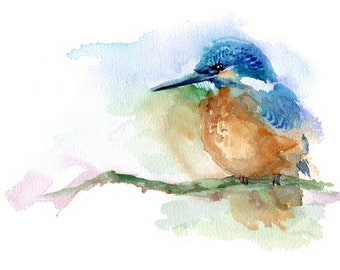 Kingfisher painting, giclee print / fine art print of original watercolor bird painting