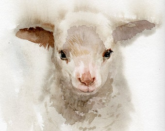 Lamb painting, GICLEE print, baby shower gift, nursery, farming, print of original watercolor