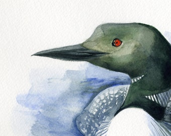 Loon Painting Giclee Print from Original Watercolor Bird Painting, Illustration of Common Loon in the water