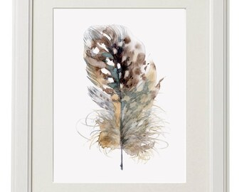 Feather print, 8x10 fine art print of original watercolor