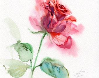 ROSE WATERCOLOR original, flowers painting original