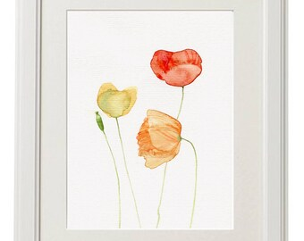 Poppy Flowers painting watercolor original, Poppies wild flowers botanic floral illustration