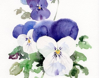 Violets flower GICLEE Print of original watercolor, 5x7 flowers painting print