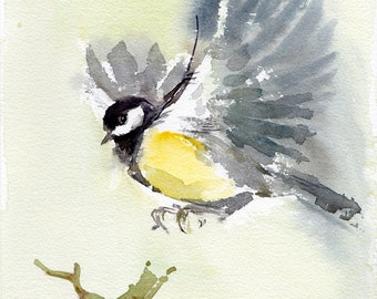 Bird flying print, watercolor bird, Great Tit Bird, Chickadee family