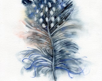 Feather watercolor original, painting Blue feather, bird lover gift