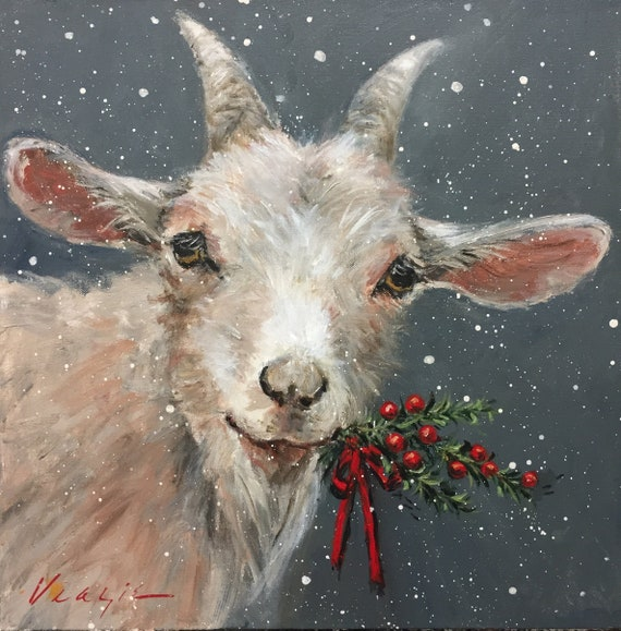 Christmas Goat.Christmas Goat With Berries