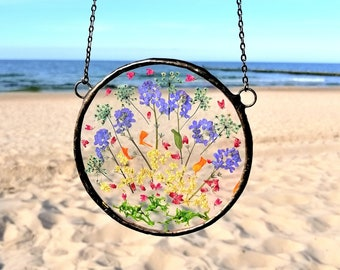 Dried Flower Frame, Pressed Flowers, stained glass window hangings, suncatcher frame, woodland, window panel, Home decor Gift , 4*