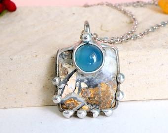 Jasper brecciated Necklace, Chalcedony jewelry, jasper necklace, boho jewellery, hand made, positive energy, buddha pendant