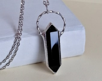 Obsidian Necklace, gift for women, Black obsidian CRYSTAL Point Necklace, valentines day gift for him, black crystal pendant, personalized
