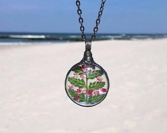 pressed flower Terrarium Necklace, Mother's Day gift FERN Necklace, HEATHER Necklace, Woodland, Statement Necklace,Terrarium Jewelry
