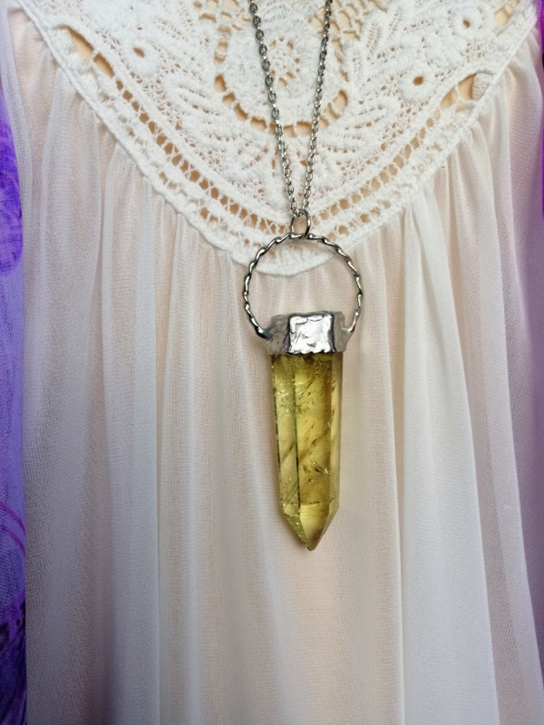 CITRINE Necklace Healing Crystals  Layered Neck Crystal Point Necklace unique gift Citrine Necklace raw celestial Crystal Necklace