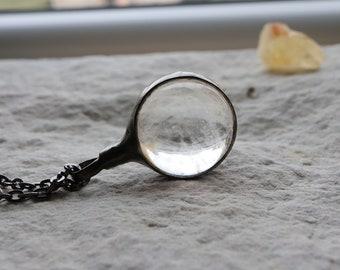 gift for women, Quartz Sphere Silver Necklace Jewelry Healing Quartz Pendant, Mineral Pendant, Bohemian Necklace, Quartz