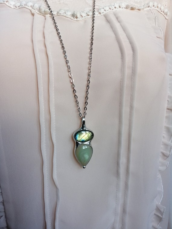 One of a kind jewelry BUSTANI buddha gift for her layering necklace Blue Moonstone Necklace ONYX Necklace