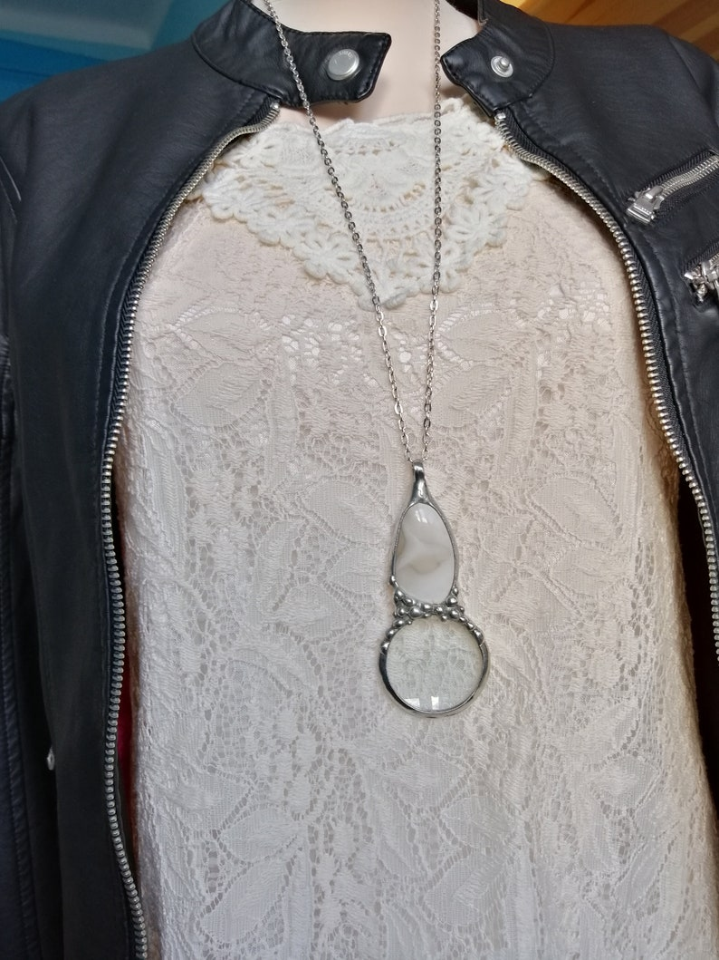 loupe necklace gift for grandma handmade MAGNIFYING glass necklace striped flint necklace magnifying glass Loupe pendant