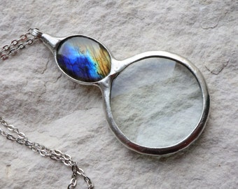 magnifying glass Loupe pendant, Loupe Necklace LABRADORITE Necklace, Loupe pendant, statement necklace, pendant, Gift for her