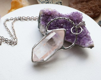 Quartz crystal point Necklace, gift for him, Quartz  statement necklace, Long Quartz, Quartz necklace, unisexx