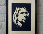 Kurt Cobain (of Nirvana) Handmade Papercut Portrait