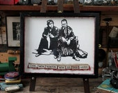 Withnail & I - Papercut by Hand, Mounted in Vintage Butterfly Box (Your Choice of Quote)
