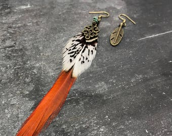 Red Tail Pheasant Bronze Earrings