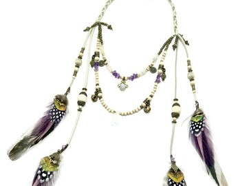 Immanence Double Layered Feather Necklace
