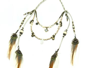 Island Moon Double Layered Feather Necklace