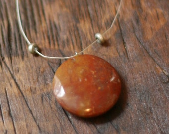 Simple stone necklace, rust color, minimalist — FREE SHIPPING