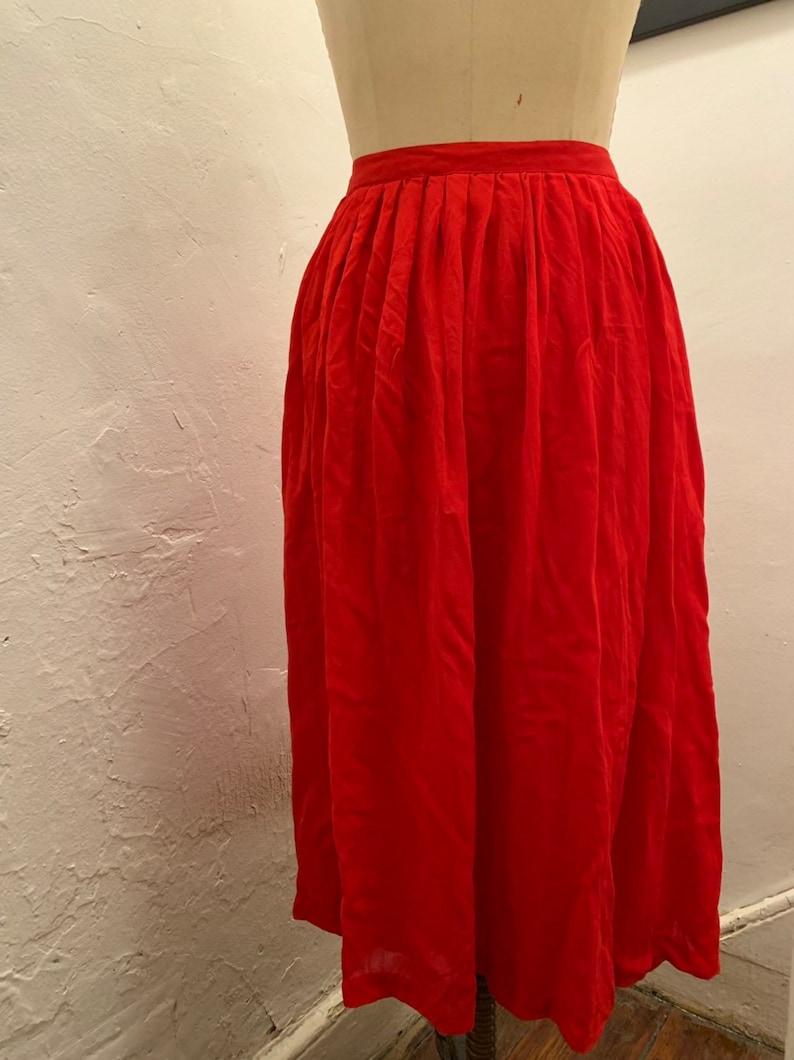 Red silk tea-length skirt FREE SHIPPING