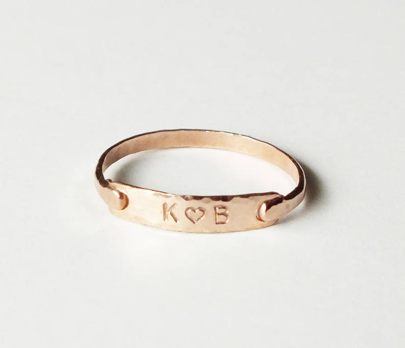 Personalized Rose Gold Ring  Sweetheart Ring  Anniversary image 0