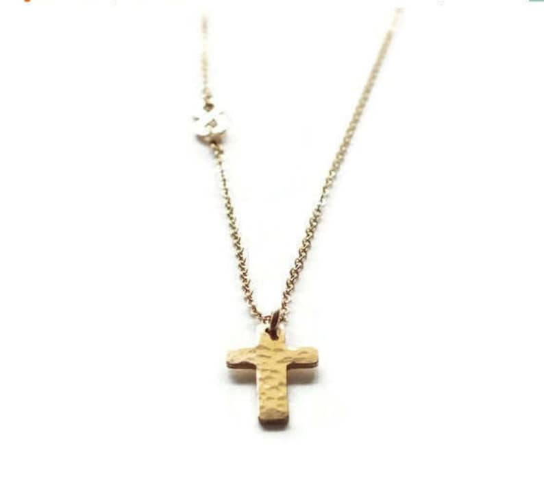 Gold Cross and Infinity Necklace  Infinity Necklace  Gold image 0