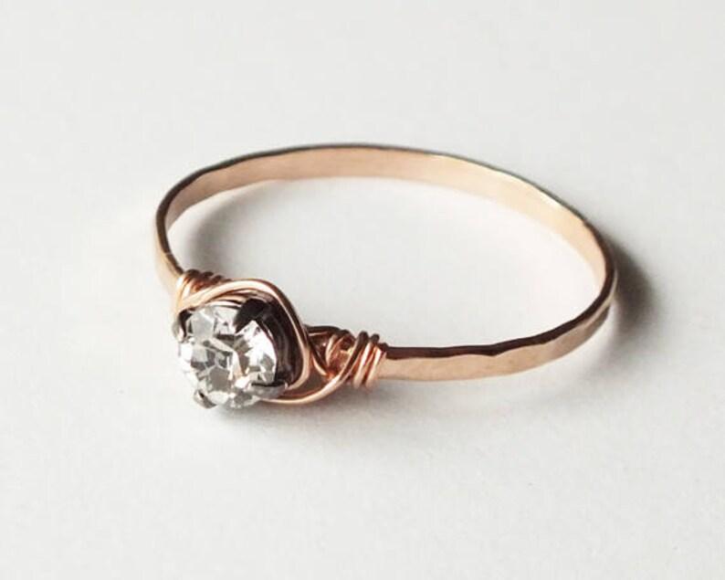 Hammered Rose Gold Filled Swarovski Crystal Ring  Rose Gold image 0